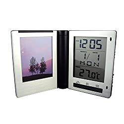 Travel Clock with picture Frame and Multi-functions - Aluminum Frame.