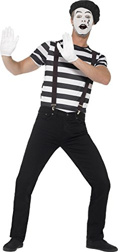 Smiffy's Men's Gentleman Mime Artist Costume, Top, Beret, Gloves, Suspenders and Make-up, Funny Side, Serious Fun, Size L, (Funny Male Halloween Costumes Uk)