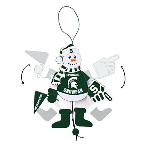 NCAA Michigan State Spartans Wooden Cheering Snowman Ornament