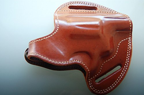 - cal38 Handcrafted Leather Belt Holster for sw Model 66-1 Snub Nosed 357 Magnum Revolver (R.H) (TAN)