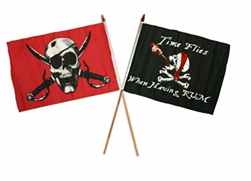 ALBATROS 12 inch x 18 inch Pirate Crimson with Time Flies Having Rum Stick Flag for Home and Parades, Official Party, All Weather Indoors Outdoors
