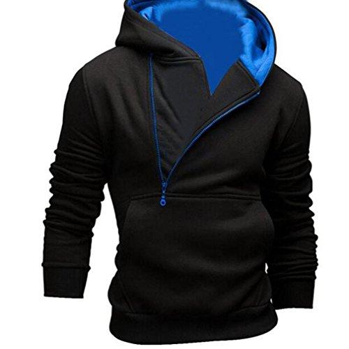 [XUANOU XUANOU Men Long Sleeve Side zipper Decoration Hoodie Sweatshirt Jacket Outwear (Large, Blue)] (Red Coat Army Costume)