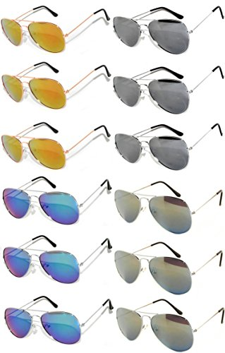 Wholesale Bulk Aviator Silver Metal Frame Sunglasses Mirrored Lens Blue Blue-Green Red Yellow -12 Pairs - Sunglasses Wholesale La