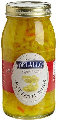 DeLallo Hot Banana Pepper Rings, 25.5-Ounce Jars (Pack of 6) (Pepper Rings)