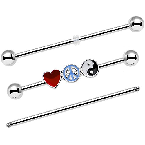 Body Candy Steel Yin Yang Peace Sign Love Heart Interchangeable Helix Earring Industrial Barbell Set 14 Gauge ()