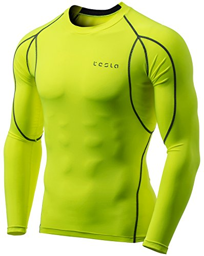 Tesla TM-MUD11-NEY_Large Men's Long Sleeve T-Shirt Baselayer Cool Dry Compression Top MUD11 - Long Sleeve Running Top