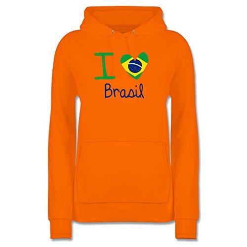 Shirtracer Länder - I Love Brasil - Damen Hoodie Orange