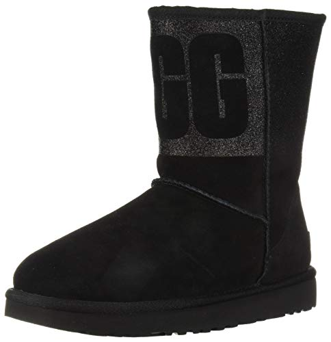 UGG Women's W Classic Short Sparkle Fashion Boot, Black, 9 M US