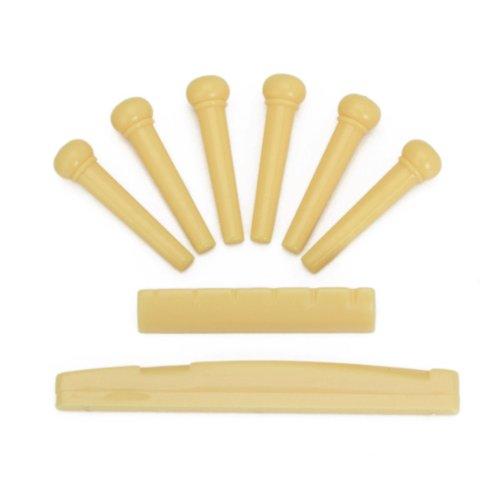 Set of Acoustic Guitar Bridge Pins Saddle Nut Yellow - 3