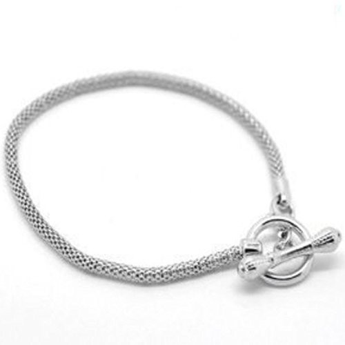(SEXY SPARKLES Silver Tone Toggle Clasp European Charm Bracelet, Pandora Charms and Beads Compatible 8.5inches)