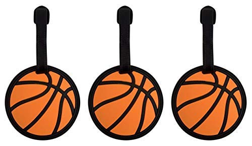 Luggage Basketball Tag - Sports Athlete Basketball Suitcase Luggage Tag, 3 Inch, Set of 3