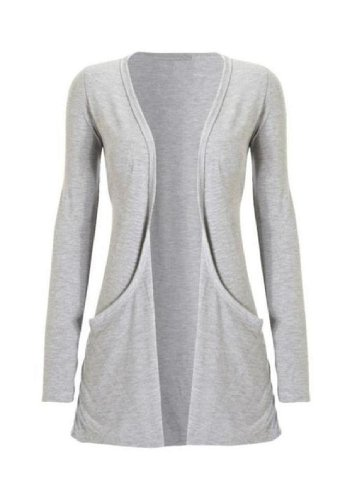 Hot Hanger Ladies Plus Size Pocket Long Sleeve Cardigan 16-26 (16-18 LXL, Light Grey)