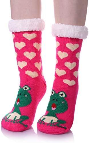 LANLEO Womens Cute Cartoon Animal Fuzzy Slipper Socks Winter Soft Warm Fleece Lining Knit Home Socks With Grippers