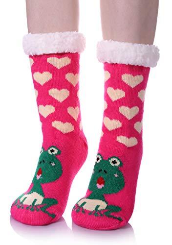 LANLEO Womens Cute Cartoon Animal Fuzzy Slipper Socks Winter Soft Warm Fleece Lining Knit Home Socks With Grippers Frog ()