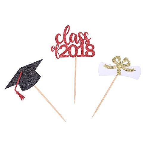 Price comparison product image 24 CT Graduation Cupcake Toppers Class 2018 Regalia Cap Handcrafted Graduation Party Picks Cake Decorations