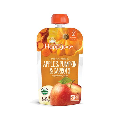 5packs Happy Baby Clearly Crafted, Organic Baby Food, Stage 2 Apple Guavas & Beets, Apples Pumpkins & Carrot, Pear, Squash & Blackberry, Banana Raspberries & Oat, Banana Sweet Potato & Papayas 4oz