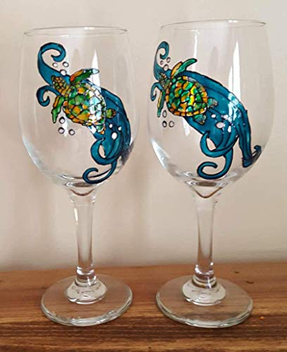 (2 Sea Turtle Hand Painted Wine Glasses Beach Decor )