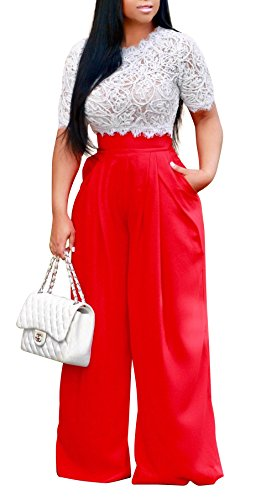 Women's Sexy 2 Piece Outfits Mesh See Through Crochet Lace Crop Top with High Waist Wide Leg Long Palazzo Pants Set (Medium, Red) by Chemenwin