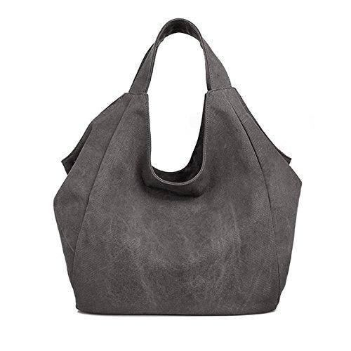 épaule fourre Style Shopper surdimensionné Main à doublé Good en Tout Main à Vintage Sac Toile Sac Gris pour Femme Sac Sac aZv5qw