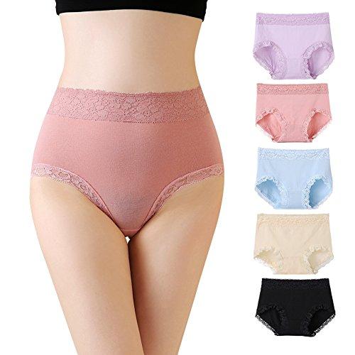 Mryumi Women Lace Panties Sexy Lingerie Cotton Underwear 5 Pack Waist Briefs (US XL/4L, Mix) (Waist Women Cotton Panties)