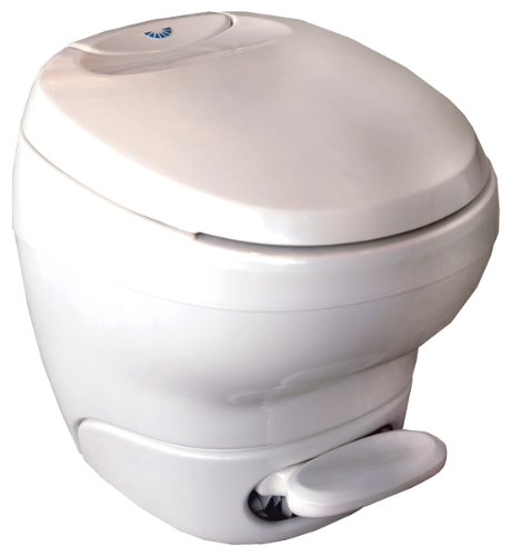 Aqua-Magic Bravura RV Toilet Pedal Flush with Hand Sprayer / Low Profile / White - Thetford 31122