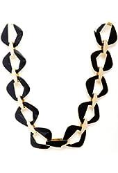 Belle Noel Gold Color Plated Black Enameled Modernist Necklace