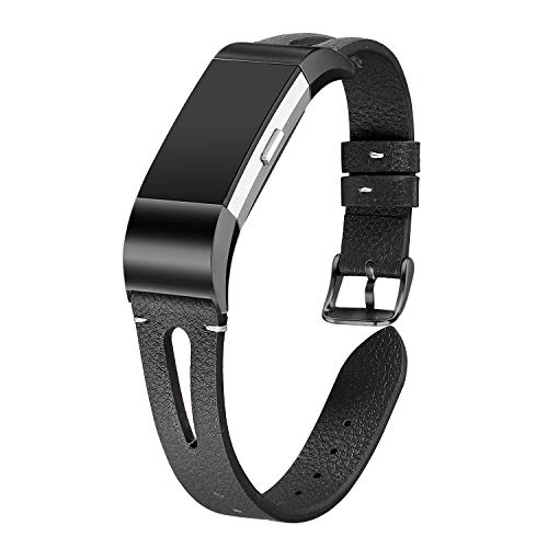 bayite Leather Bands Compatible Fitbit Charge 2, Replacement Genuine Wristband Straps Women Men Large Small