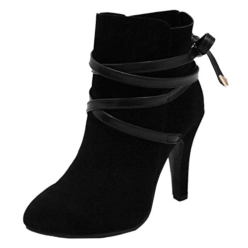 COOLCEPT Boots High Fashion Heel Black Women pwrp1g
