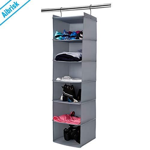 Aibrisk 6 Shelves Hanging Closet Organizer Collapsible Hanging Closet Shelves Storage Organizer Oxford Cloth, Gray