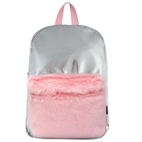 Silver Shimmer Pocket (Style Labs MINI Silver Shimmer Backpack with Faux Fur Pocket)