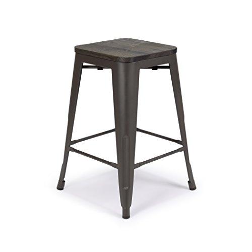 "Deluxe Seat Bar Stool - Madison Park Single Metal Bar Stool 24"" Malek Matte Espresso w/Dark-Wood Seat Counter Stools, Stool Chairs, Bar Chairs Kitchen Stool Lasting Furniture"