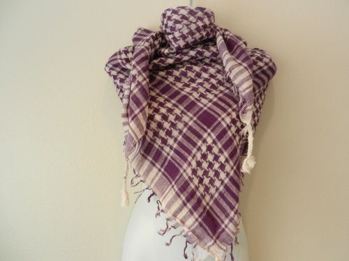 Purple And White Arab Shemagh Head Scarf Neck Wrap
