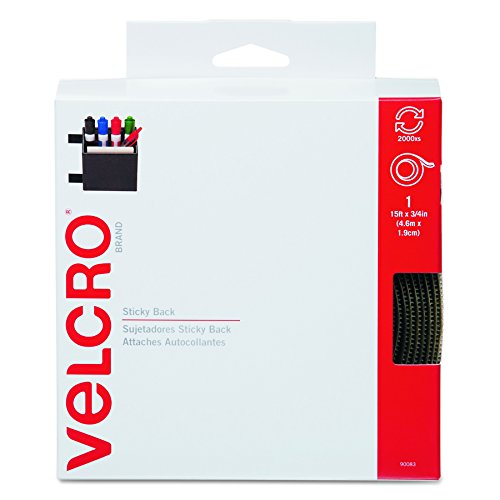 Velcro 90083 Sticky-Back Hook & Loop Fastener Tape with Dispenser, 3/4 x 15 ft. Roll, Beige 15 Loops