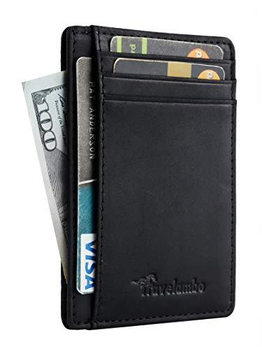 Travelambo Front Pocket Minimalist Leather Slim Wallet RFID Blocking Medium Size(03 crazy horse - Clip Id Pocket Wallet Front