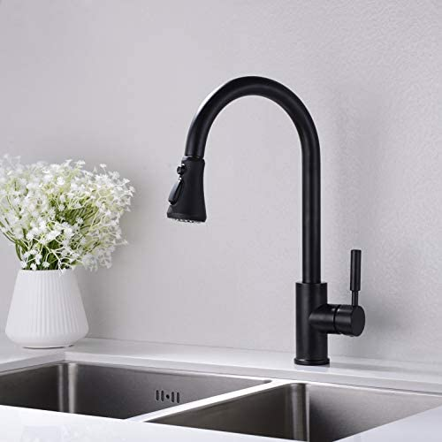 Matte Black Kitchen Faucet, Single Handle High Arc Pull out Kitchen Sink Faucet, Single Level Brass Kitchen Sink Faucets with Pull down Sprayer,Black