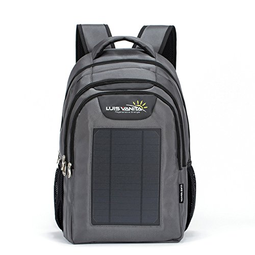 Luisvanita Eco Solar Charger Backpack Bag Black 6w External Frame Hiking Daypack-Grey