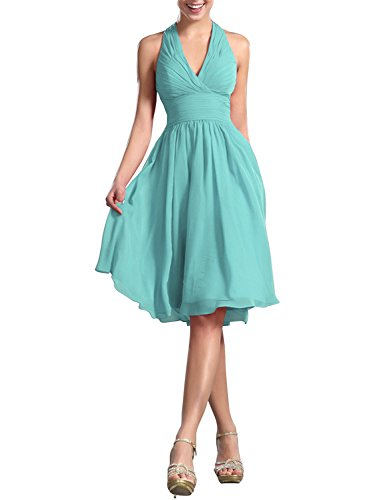 Hanxue Women's Knee Length Halter Dress Bridesmaid Dresses Ice Blue US (Halter Knee Length Dress)