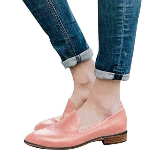 Xinantime Solid Color Leather Shoes Point Toe Flats Square Heel Shoes Single Shoes Comfort Soft Slip On Shoes for Women -