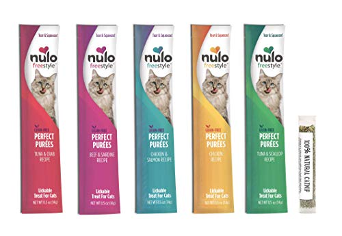 Nulo Freestyle Purfect Purees Grain Free Wet Cat Treat/Food Pouch Variety Pack, 5 Flavors, 0.5 Ounces (15 Total Pouches) and 1 Tube of Amazing Cat Catnip