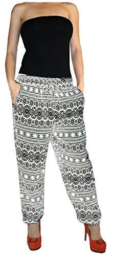 Damen Hose Haremshose Freizeithose Hose mit Muster Baumwolle Sommerhose (Blau)