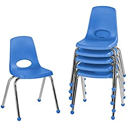 """ECR4Kids 16"""" School Stack Chair, Chrome Legs with Ball Glides, Blue (6-Pack)"""
