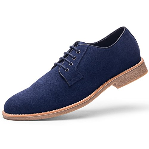 Navy Dress Black Shoes - GM GOLAIMAN Men's Suede Leather Oxford Shoes Casual Lace up Dress Shoes Navy 10.5 D (M) US