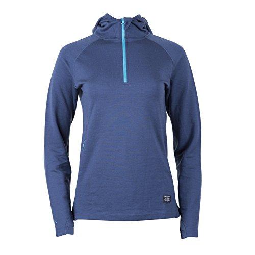 Ridge Merino Women's Heist 1/4 Zip Hoody - Merino Wool Mid Layer (Large, Deep Sea) (Womens Sweatshirt Wool)