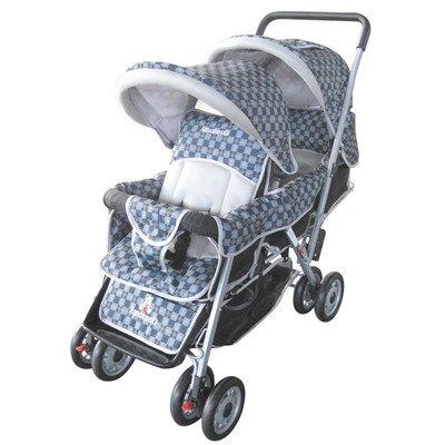 AmorosO Deluxe Double Baby Stroller, Black