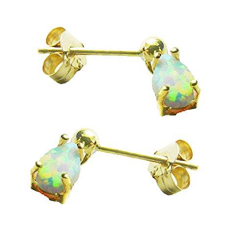9ct or jaune synthétique Opale Larme Boucles d'oreille à tige-Pierre porte-bonheur Octobre-ravissant Elegance