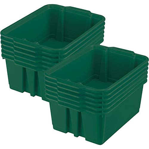 (Really Good Stuff Stackable Plastic Book and Organizer Bins for Classroom or Home Use – Sturdy, Colored Plastic Baskets (Set of 12))