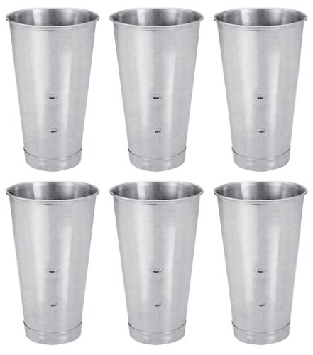 (SET OF 6, 30 Oz. (Ounce) Malt Cup, Milkshake Cup, Blender Cup, Cocktail Mixing Cup, Stainless Steel, Commercial Grade)
