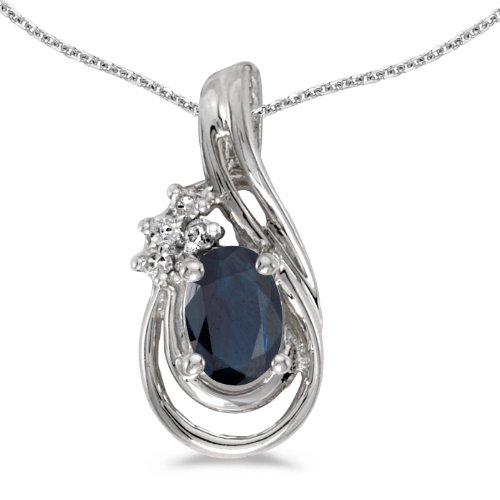 Diamond Teardrop Pendant - 14k White Gold Oval Sapphire And Diamond Teardrop Pendant with 18