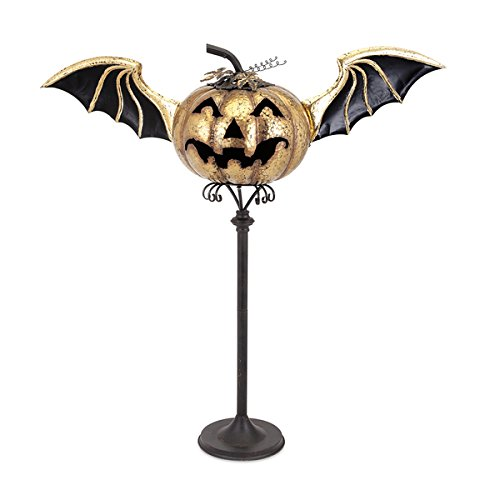Iron Eddy Jack O Halloween Lantern Stand, Orange