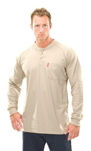 UPC 028672241477, Benchmark Men's Flame Resistant Henley Shirt, Chest Pocket, HRC 2, NFPA 2112, X-Large, Beige